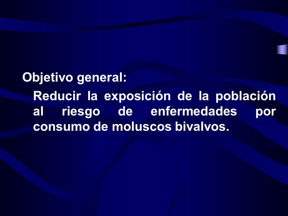 Objetivo general: Reducir la exposición de la población al riesgo de enfermedades por consumo de moluscos bivalvos.