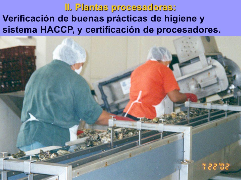 II. Plantas procesadoras: Verificación de buenas prácticas de higiene y sistema HACCP, y certificación de procesadores.