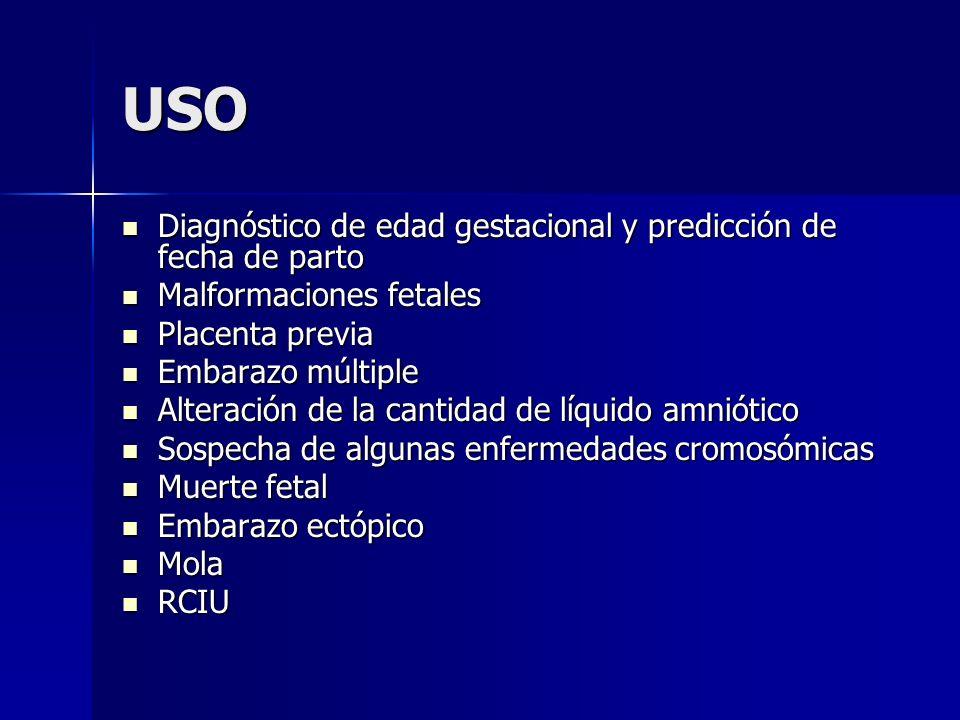 USO Diagnóstico de edad gestacional y predicción de fecha de parto Diagnóstico de edad gestacional y predicción de fecha de parto Malformaciones fetal