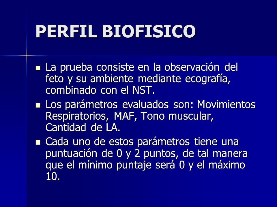 PERFIL BIOFISICO La prueba consiste en la observación del feto y su ambiente mediante ecografía, combinado con el NST. La prueba consiste en la observ