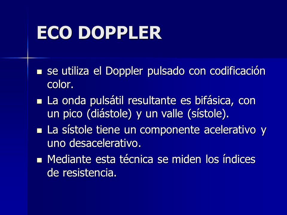 ECO DOPPLER se utiliza el Doppler pulsado con codificación color. se utiliza el Doppler pulsado con codificación color. La onda pulsátil resultante es