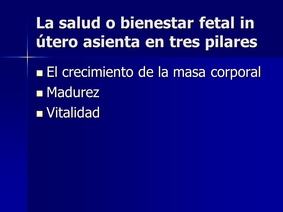 La salud o bienestar fetal in útero asienta en tres pilares El crecimiento de la masa corporal El crecimiento de la masa corporal Madurez Madurez Vita