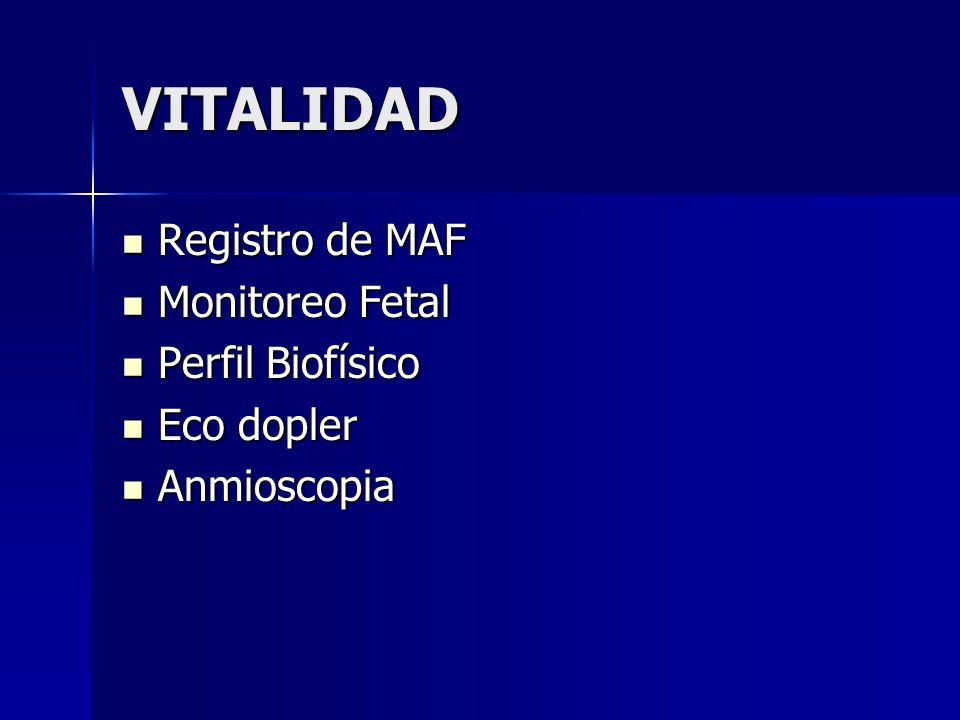 VITALIDAD Registro de MAF Registro de MAF Monitoreo Fetal Monitoreo Fetal Perfil Biofísico Perfil Biofísico Eco dopler Eco dopler Anmioscopia Anmiosco