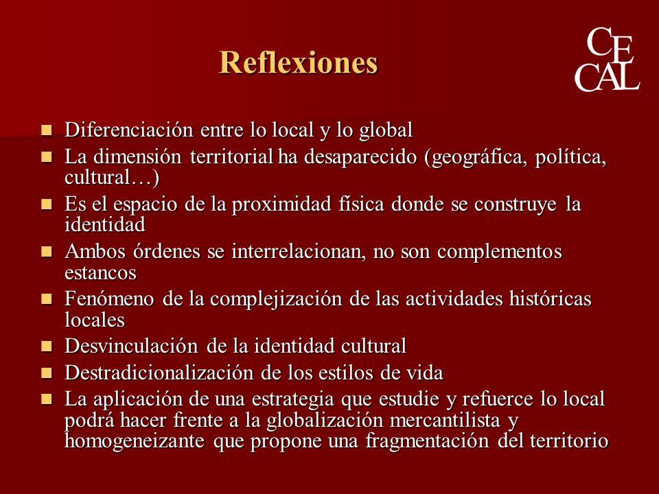 Diferenciación entre lo local y lo global Diferenciación entre lo local y lo global La dimensión territorial ha desaparecido (geográfica, política, cultural…) La dimensión territorial ha desaparecido (geográfica, política, cultural…) Es el espacio de la proximidad física donde se construye la identidad Es el espacio de la proximidad física donde se construye la identidad Ambos órdenes se interrelacionan, no son complementos estancos Ambos órdenes se interrelacionan, no son complementos estancos Fenómeno de la complejización de las actividades históricas locales Fenómeno de la complejización de las actividades históricas locales Desvinculación de la identidad cultural Desvinculación de la identidad cultural Destradicionalización de los estilos de vida Destradicionalización de los estilos de vida La aplicación de una estrategia que estudie y refuerce lo local podrá hacer frente a la globalización mercantilista y homogeneizante que propone una fragmentación del territorio La aplicación de una estrategia que estudie y refuerce lo local podrá hacer frente a la globalización mercantilista y homogeneizante que propone una fragmentación del territorio Reflexiones