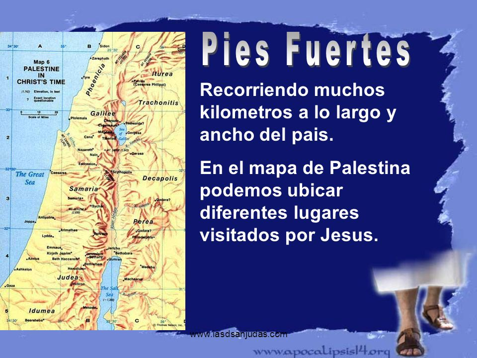 Recorriendo muchos kilometros a lo largo y ancho del pais. En el mapa de Palestina podemos ubicar diferentes lugares visitados por Jesus.
