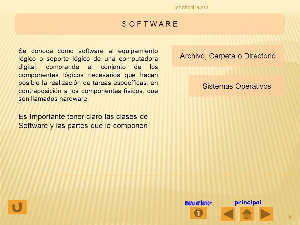 S O F T W A R E 6 johnbonilla.es.tl Se conoce como software al equipamiento lógico o soporte lógico de una computadora digital; comprende el conjunto