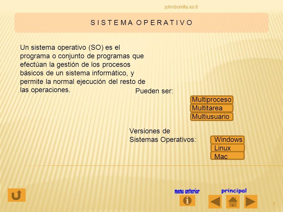 S I S T E M A O P E R A T I V O 7 johnbonilla.es.tl Un sistema operativo (SO) es el programa o conjunto de programas que efectúan la gestión de los pr