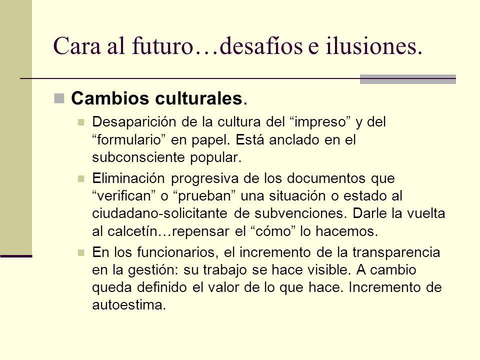 Cara al futuro…desafíos e ilusiones. Cambios culturales. Desaparición de la cultura del impreso y del formulario en papel. Está anclado en el subconsc