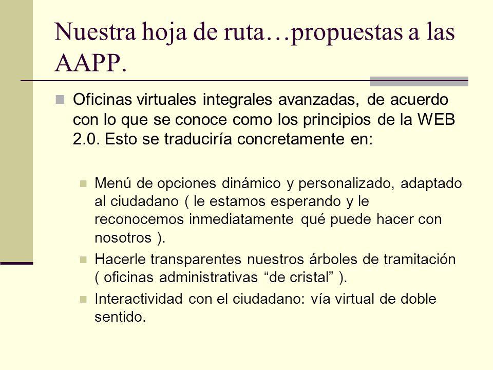 Nuestra hoja de ruta…propuestas a las AAPP. Oficinas virtuales integrales avanzadas, de acuerdo con lo que se conoce como los principios de la WEB 2.0