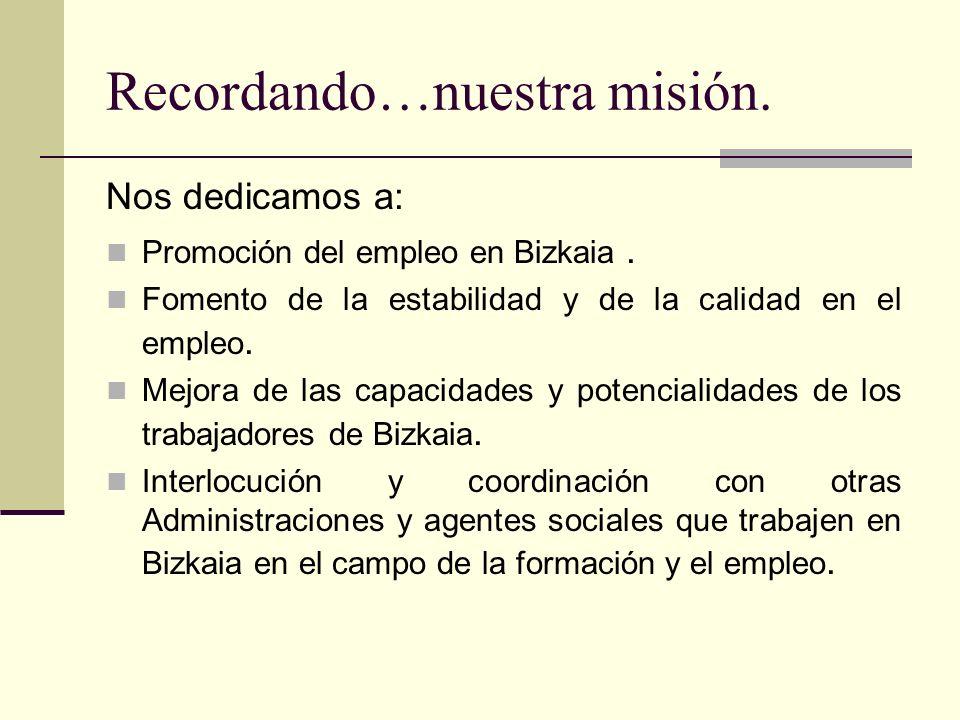 Recordando…nuestra misión. Nos dedicamos a: Promoción del empleo en Bizkaia. Fomento de la estabilidad y de la calidad en el empleo. Mejora de las cap