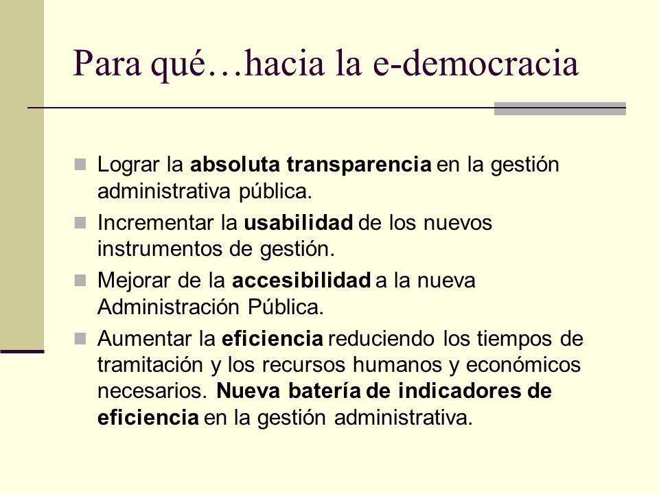 Para qué…hacia la e-democracia Lograr la absoluta transparencia en la gestión administrativa pública. Incrementar la usabilidad de los nuevos instrume