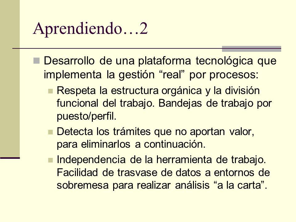 Aprendiendo…2 Desarrollo de una plataforma tecnológica que implementa la gestión real por procesos: Respeta la estructura orgánica y la división funci