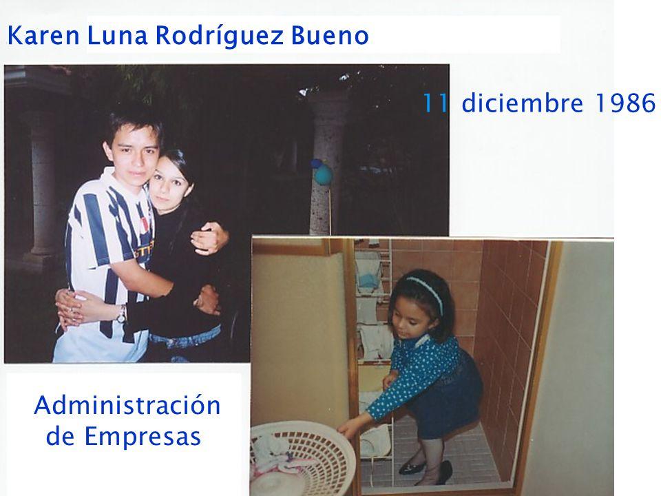 Karen Luna Rodríguez Bueno 11 diciembre 1986 Administración de Empresas