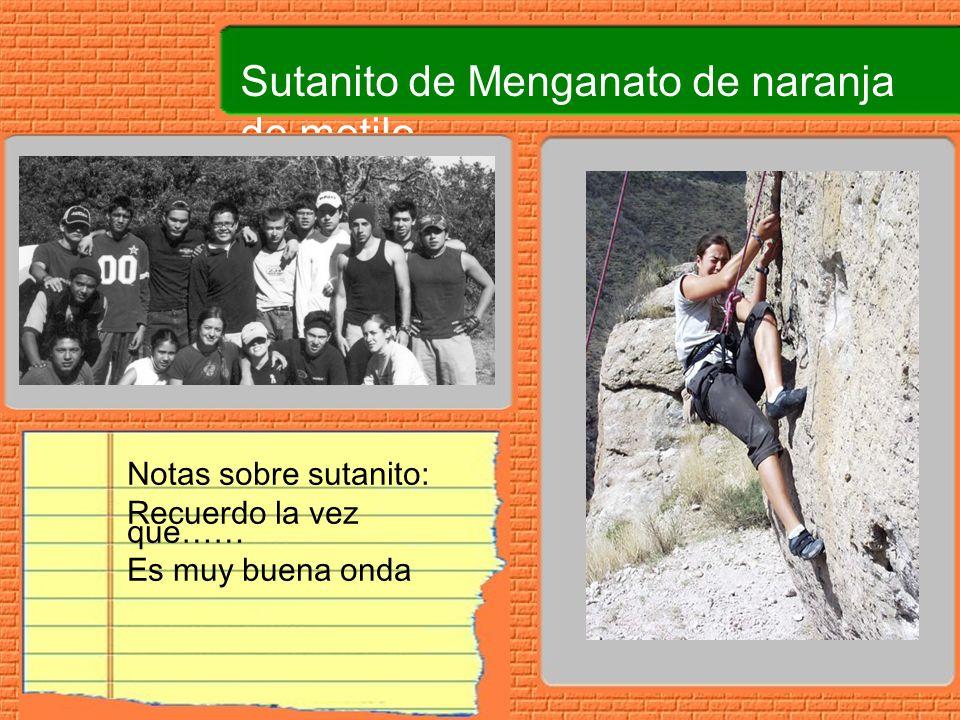 Sutanito de Menganato de naranja de metilo Notas sobre sutanito: Recuerdo la vez que…… Es muy buena onda
