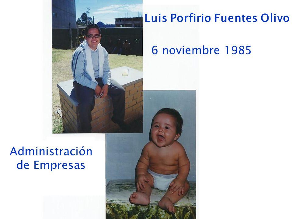 Luis Porfirio Fuentes Olivo 6 noviembre 1985 Administración de Empresas