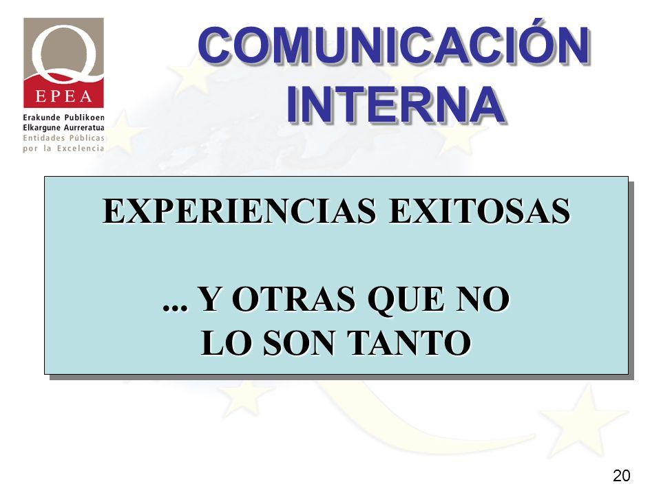 20 EXPERIENCIAS EXITOSAS EXPERIENCIAS EXITOSAS... Y OTRAS QUE NO...