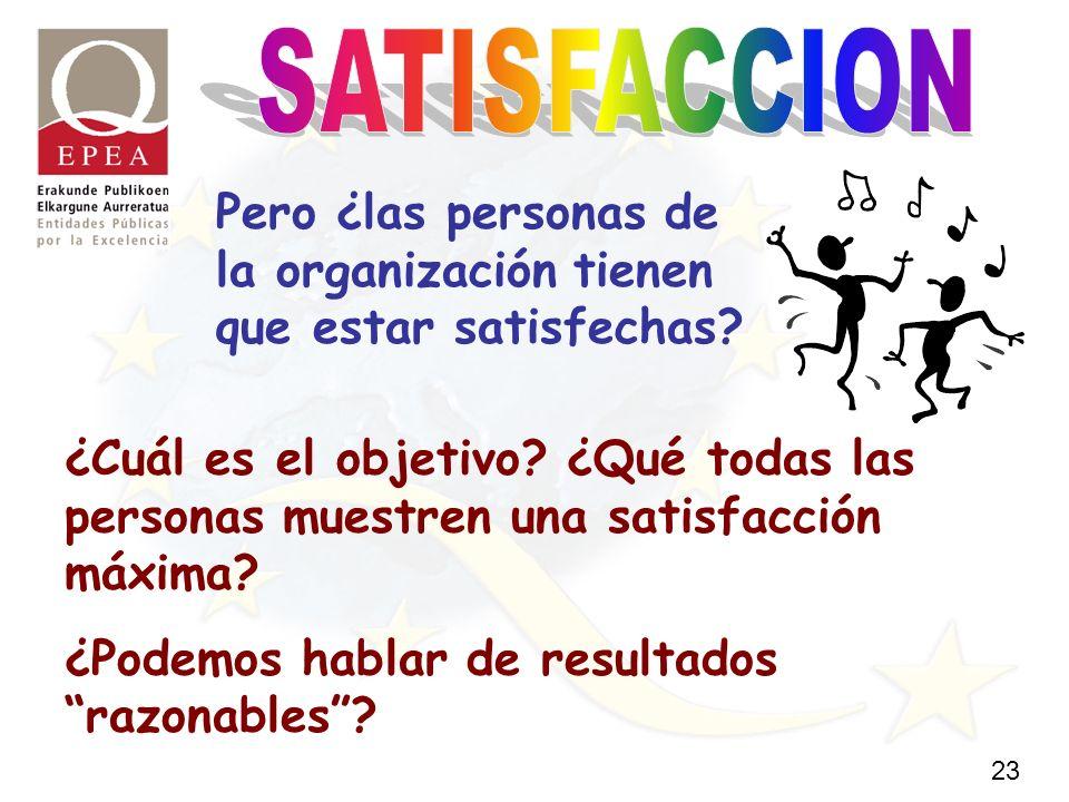 23 Pero ¿las personas de la organización tienen que estar satisfechas.