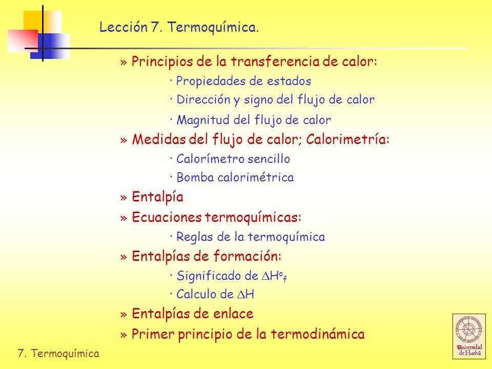 7. Termoquímica Lección 7. Termoquímica. » Principios de la transferencia de calor: · Propiedades de estados · Dirección y signo del flujo de calor ·