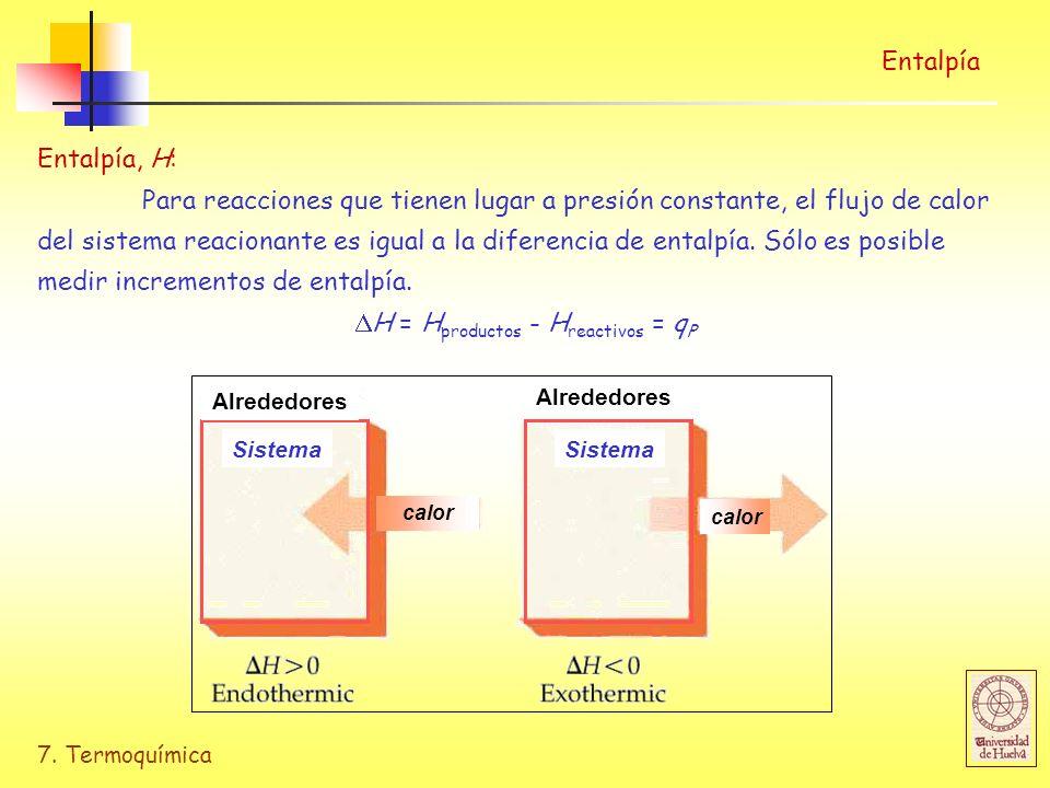 7. Termoquímica Entalpía Entalpía, H: Para reacciones que tienen lugar a presión constante, el flujo de calor del sistema reacionante es igual a la di