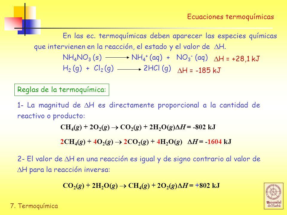 7. Termoquímica Ecuaciones termoquímicas En las ec. termoquímicas deben aparecer las especies químicas que intervienen en la reacción, el estado y el