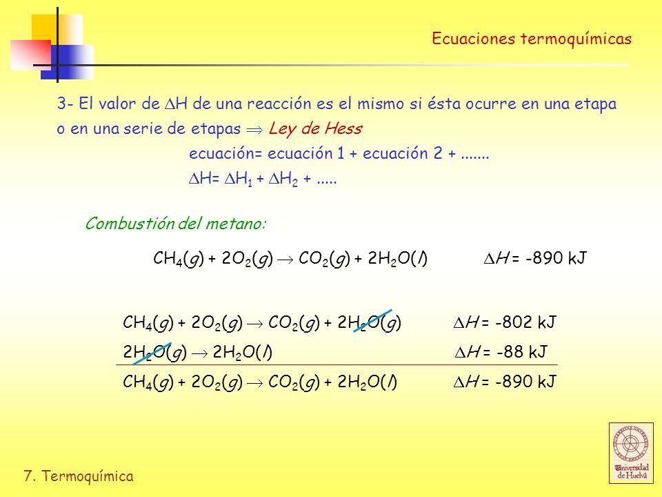 7. Termoquímica Ecuaciones termoquímicas 3- El valor de H de una reacción es el mismo si ésta ocurre en una etapa o en una serie de etapas Ley de Hess