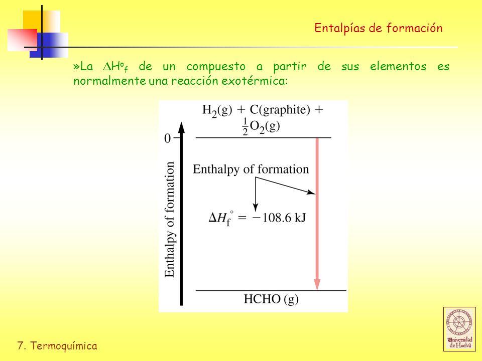 7. Termoquímica Entalpías de formación »La H o f de un compuesto a partir de sus elementos es normalmente una reacción exotérmica: