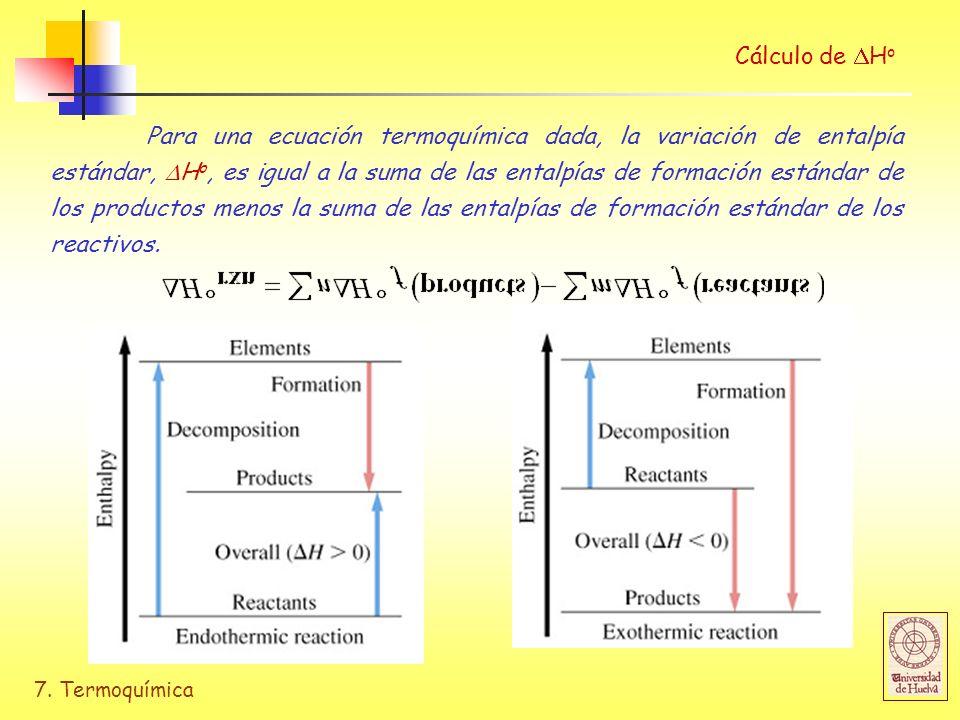 7. Termoquímica Cálculo de H o Para una ecuación termoquímica dada, la variación de entalpía estándar, H o, es igual a la suma de las entalpías de for