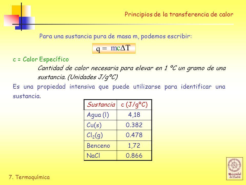 7. Termoquímica Principios de la transferencia de calor q = mc T c = Calor Específico Cantidad de calor necesaria para elevar en 1 ºC un gramo de una