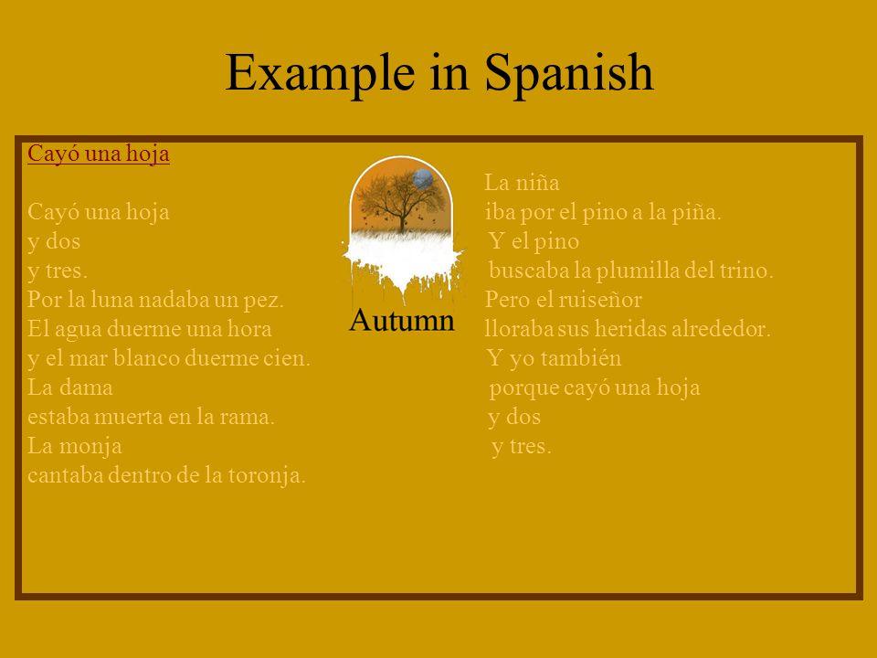 Example in Spanish Cayó una hoja La niña Cayó una hoja iba por el pino a la piña.