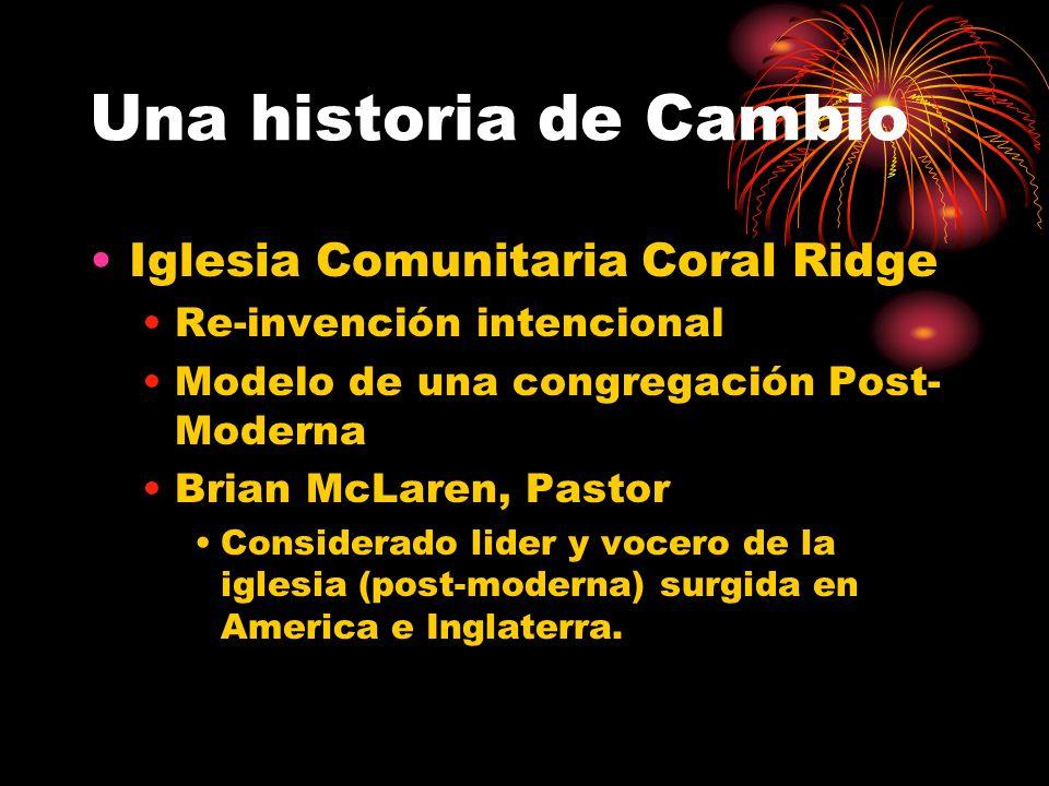 Una historia de Cambio Iglesia Comunitaria Coral Ridge Re-invención intencional Modelo de una congregación Post- Moderna Brian McLaren, Pastor Considerado lider y vocero de la iglesia (post-moderna) surgida en America e Inglaterra.