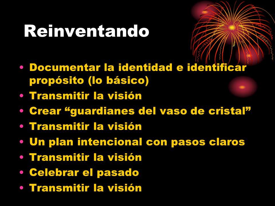 Reinventando Documentar la identidad e identificar propósito (lo básico) Transmitir la visión Crear guardianes del vaso de cristal Transmitir la visión Un plan intencional con pasos claros Transmitir la visión Celebrar el pasado Transmitir la visión