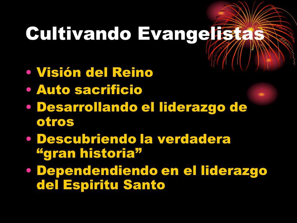 Cultivando Evangelistas Visión del Reino Auto sacrificio Desarrollando el liderazgo de otros Descubriendo la verdadera gran historia Dependendiendo en