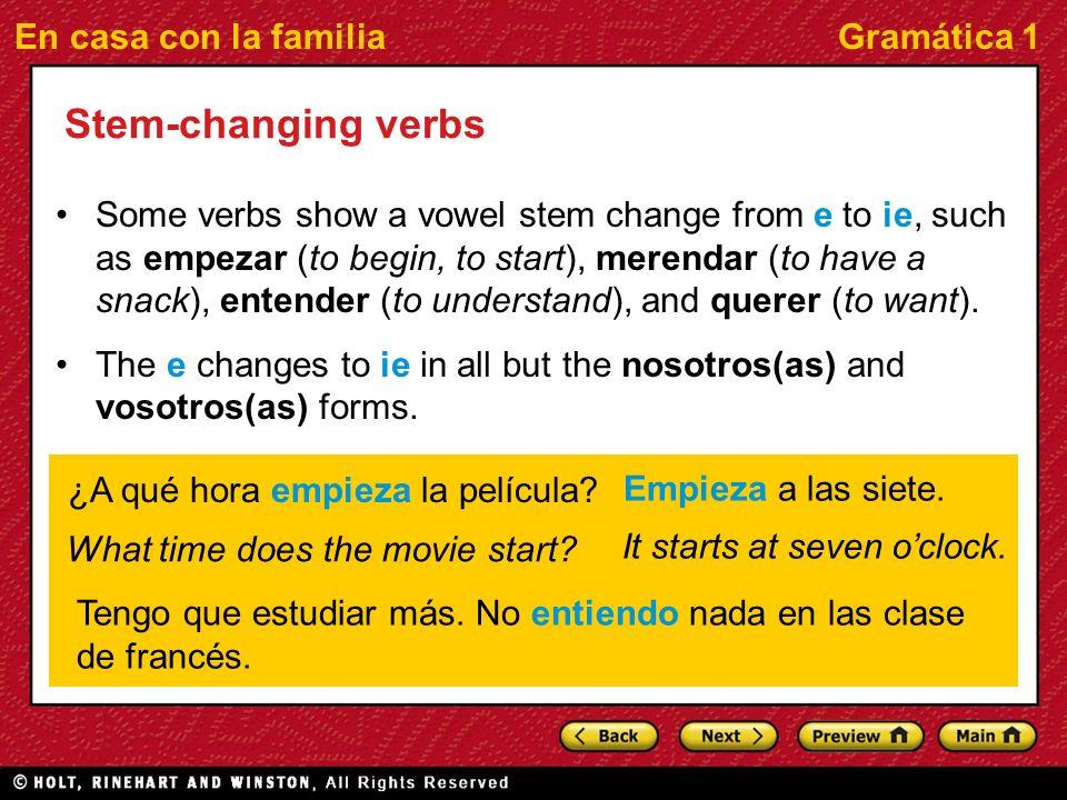 En casa con la familiaGramática 1 Empezar a You can also use empezar a followed by an infinitive to say what you or others start to do.