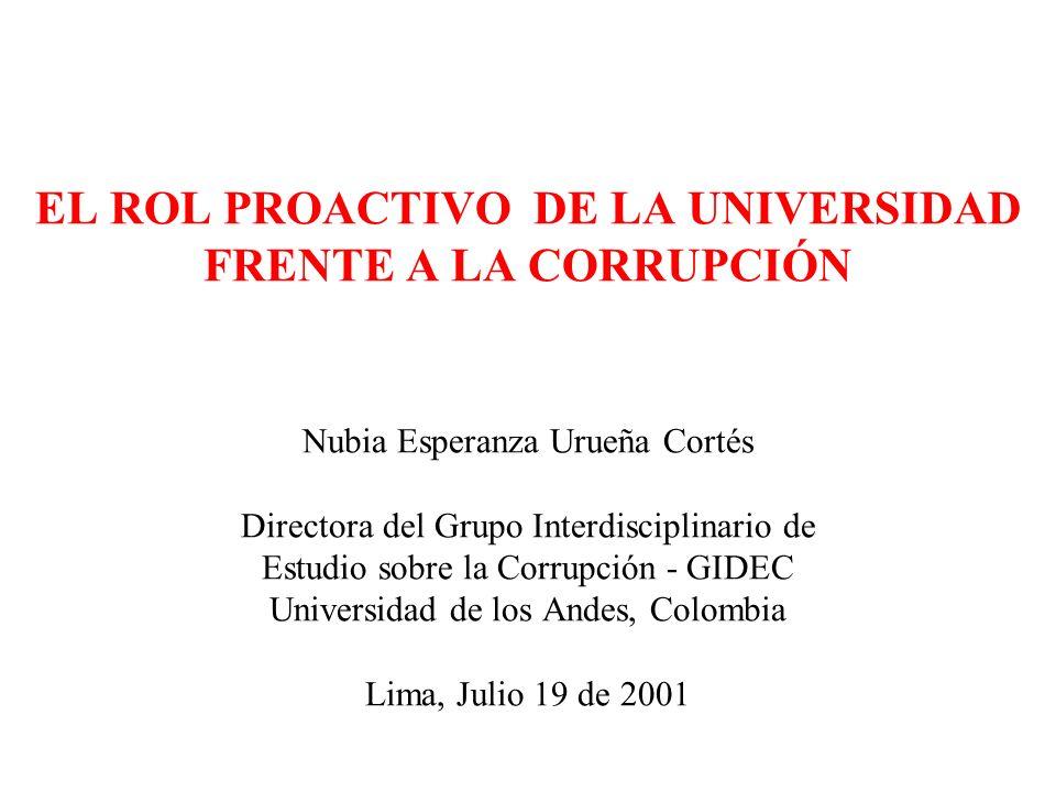 EL ROL PROACTIVO DE LA UNIVERSIDAD FRENTE A LA CORRUPCIÓN Nubia Esperanza Urueña Cortés Directora del Grupo Interdisciplinario de Estudio sobre la Cor