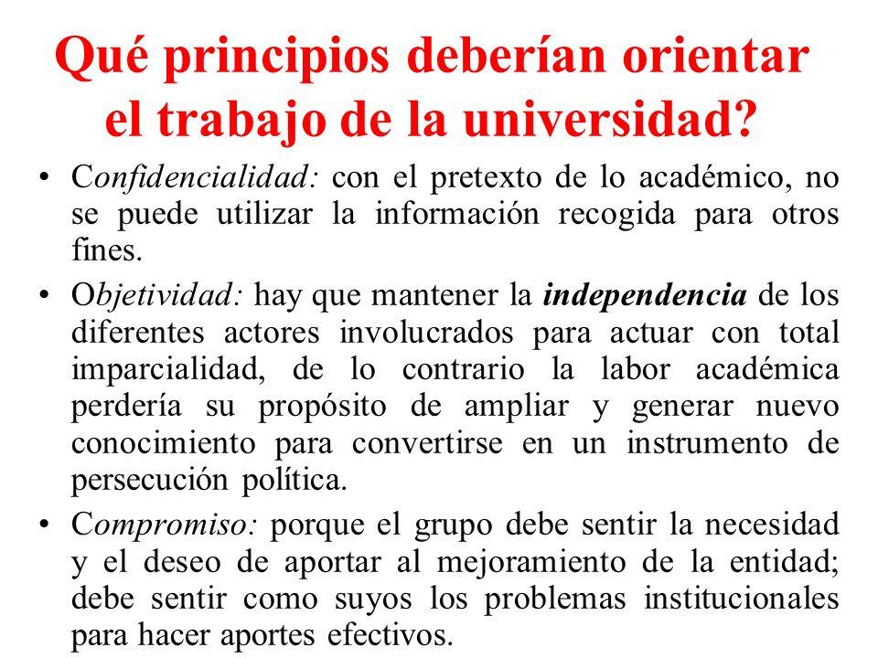 Qué principios deberían orientar el trabajo de la universidad? Confidencialidad: con el pretexto de lo académico, no se puede utilizar la información