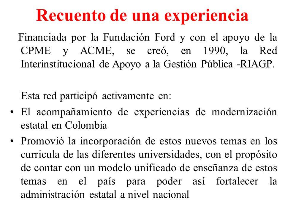 Recuento de una experiencia Financiada por la Fundación Ford y con el apoyo de la CPME y ACME, se creó, en 1990, la Red Interinstitucional de Apoyo a