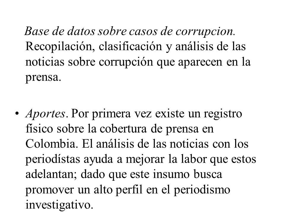 Base de datos sobre casos de corrupcion. Recopilación, clasificación y análisis de las noticias sobre corrupción que aparecen en la prensa. Aportes. P