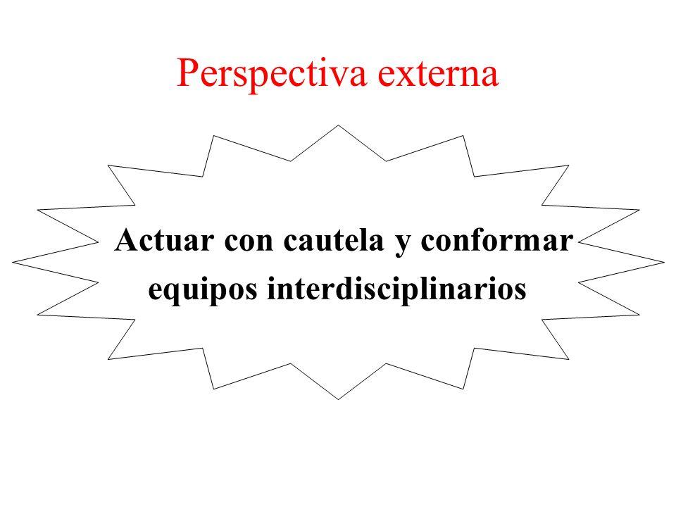 Perspectiva externa Actuar con cautela y conformar equipos interdisciplinarios
