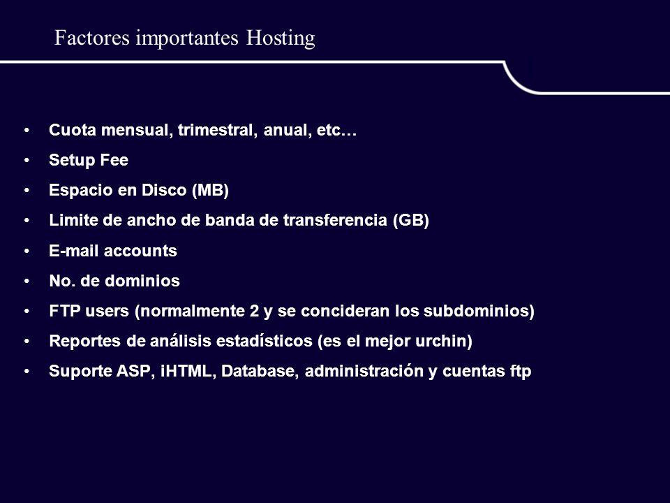 Factores importantes Hosting Cuota mensual, trimestral, anual, etc… Setup Fee Espacio en Disco (MB) Limite de ancho de banda de transferencia (GB) E-mail accounts No.