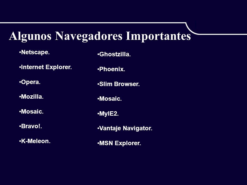 Algunos Navegadores Importantes Netscape. Internet Explorer.