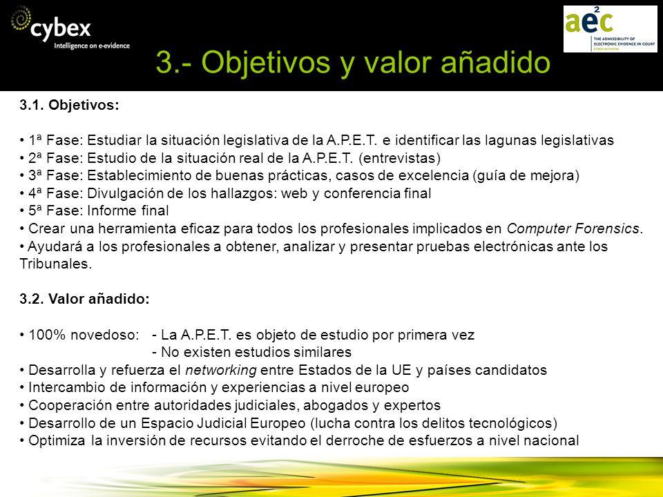 3.- Objetivos y valor añadido 3.1. Objetivos: 1ª Fase: Estudiar la situación legislativa de la A.P.E.T. e identificar las lagunas legislativas 2ª Fase