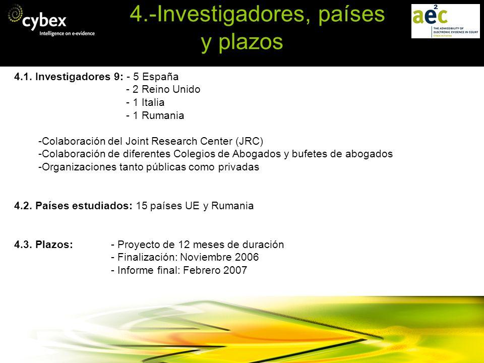 4.-Investigadores, países y plazos 4.1. Investigadores 9: - 5 España - 2 Reino Unido - 1 Italia - 1 Rumania -Colaboración del Joint Research Center (J