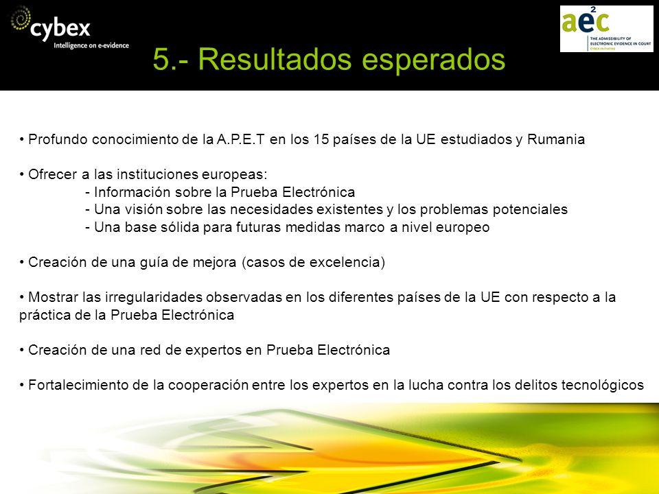 5.- Resultados esperados Profundo conocimiento de la A.P.E.T en los 15 países de la UE estudiados y Rumania Ofrecer a las instituciones europeas: - In