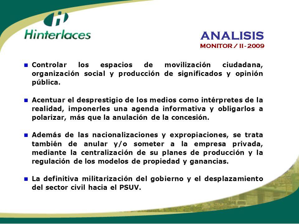 Controlar los espacios de movilización ciudadana, organización social y producción de significados y opinión pública.