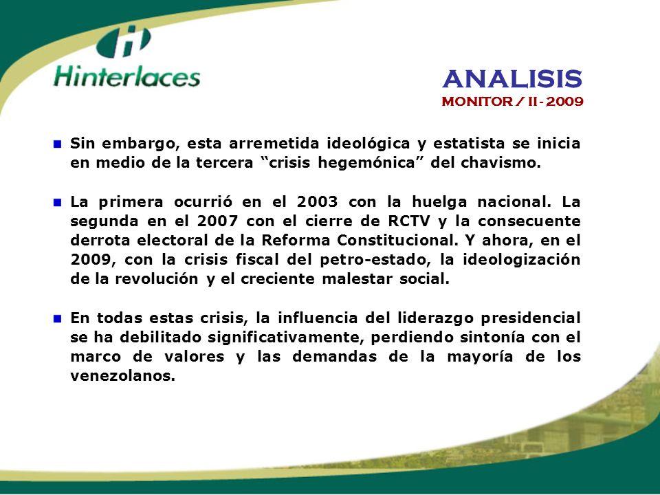 Sin embargo, esta arremetida ideológica y estatista se inicia en medio de la tercera crisis hegemónica del chavismo.