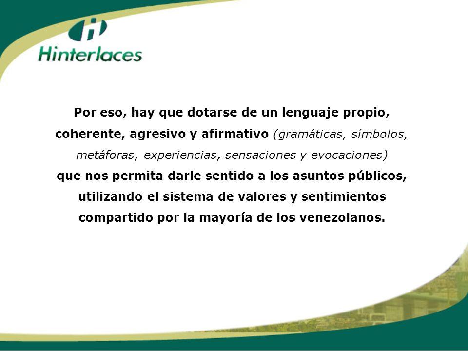 Por eso, hay que dotarse de un lenguaje propio, coherente, agresivo y afirmativo (gramáticas, símbolos, metáforas, experiencias, sensaciones y evocaciones) que nos permita darle sentido a los asuntos públicos, utilizando el sistema de valores y sentimientos compartido por la mayoría de los venezolanos.