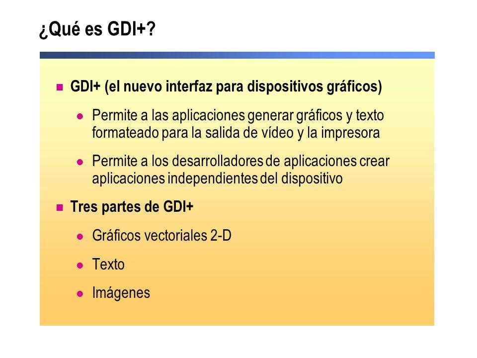 ¿Qué es GDI+? GDI+ (el nuevo interfaz para dispositivos gráficos) Permite a las aplicaciones generar gráficos y texto formateado para la salida de víd
