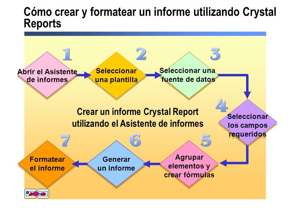 Cómo crear y formatear un informe utilizando Crystal Reports Crear un informe Crystal Report utilizando el Asistente de informes Formatear el informe
