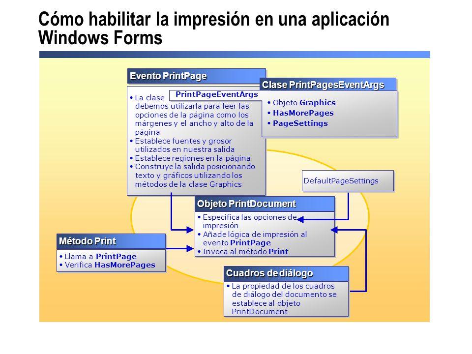 Cómo habilitar la impresión en una aplicación Windows Forms Evento PrintPage La clase debemos utilizarla para leer las opciones de la página como los