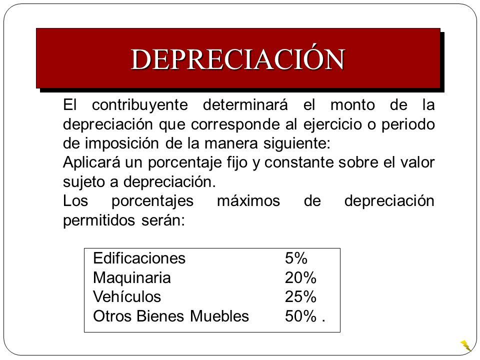 El contribuyente determinará el monto de la depreciación que corresponde al ejercicio o periodo de imposición de la manera siguiente: Aplicará un porc
